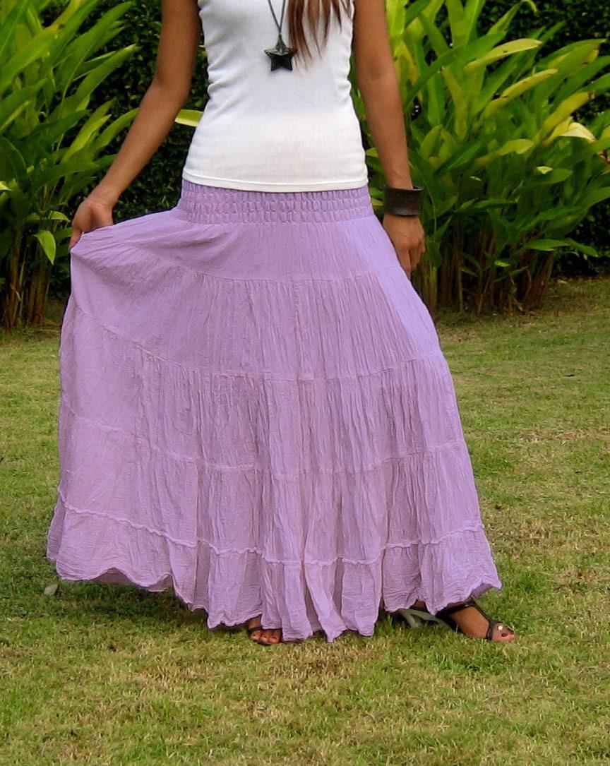 Long Maxi Skirt  Elastic Smocked Waist  Long Skirts For Women  Hippie  Skirt Bohemian Skirt Boho SkirtTiered Skirt SL Lavender