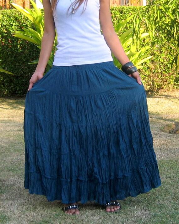 Long Maxi Skirt * Tiered Skirt * Hippie Skirt * Bohemian Skirt * Boho Skirt * Crinkle Skirt * Plus Size Clothing * SL blue