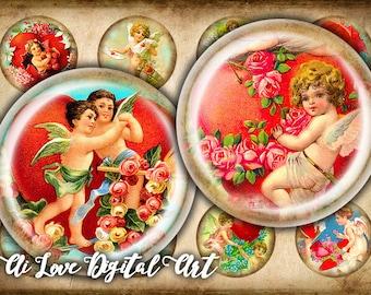"""Digital collage sheets, Vintage Love Cupids, printable downloads circle 20mm, 1.5"""", 30mm, 1 inch bottlecap images, digital download cabochon"""