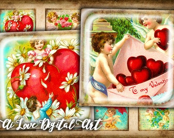 Vintage Love Cupids digital collage sheets 20mm, 1.5 inch, 1 inch square digital download cabochon, Valentines day