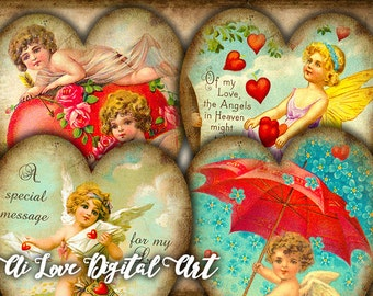 Heart tags instant download Vintage Love Cupids, digital collage sheet gift tags printable, digital images Valentines day card