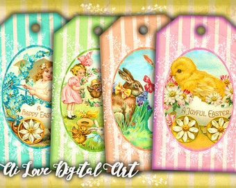 Gift tags printable, Happy Easter digital collage sheet instant download, Easter tags shabby chic vintage ephemera, digital printable images
