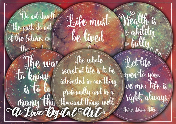 Digital Collage Sheet Life Quotes Instant Download Circle Etsy