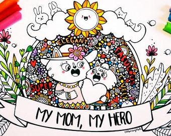 Mommy Cat & Kitten - PDF Coloring Sheet