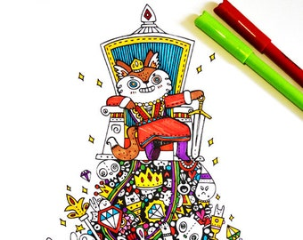 King Fox's Throne - PDF coloring sheet