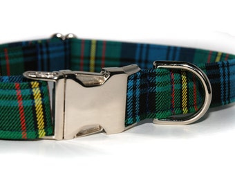 Tartan Dog Collar with Nickle Hardware in your choice of Scottish ClanTartans