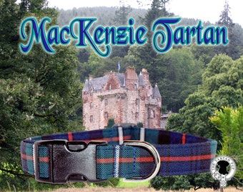 MacKenzie Tartan Dog Collar,,, Authentic tartan from the Scottish Clan MacKenzie