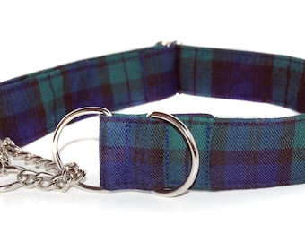 1.5 inch or 2 inch wide Tartan Chain Martingale Collar in your choice of Scottish ClanTartans