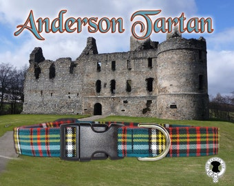 Reserved Listing for Laura,,,Anderson Tartan Dog Collar,,authentic tartan of the Scottish Clan Anderson