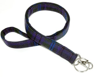 Tartan Lanyard for ID badges or keys made from your choice of Authentic Scottish Clan Tartans