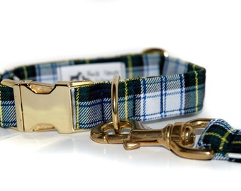 Tartan Dog Collar and 4 foot Leash with Brass Hardware in your choice of Scottish ClanTartans
