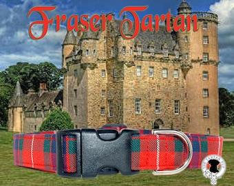 Fraser Scottish Tartan Dog Collar,,, Authentic tartan from the Scottish Clan Fraser