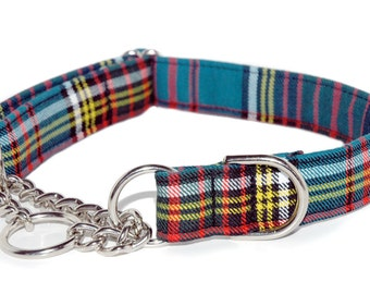 Tartan Chain Martingale Collar in your choice of over 40 different Tartans, and .75, 1, 1.5, or 2 inch widths