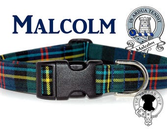 Malcolm Tartan Dog Collar, Scottish Tartan Dog Collar, Clan Malcolm