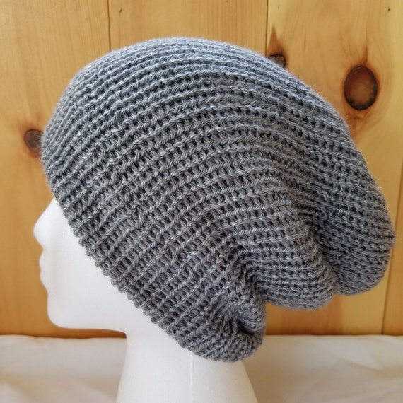 Slouchy beanie hat knitted gray hat  unisex hat  bohemian knit  980937a6721f