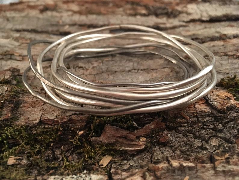 Juniper Bark Bracelet Sterling Silver and Steel Wire Bangle image 0