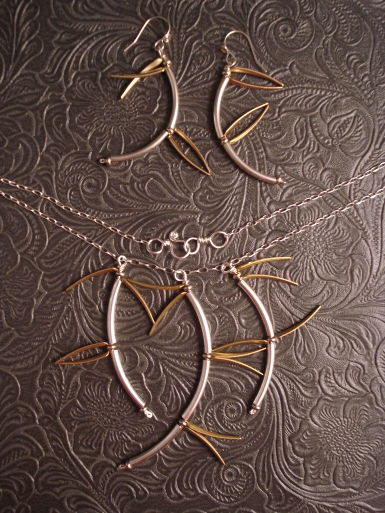 Bamboo Earrings Silver and Brass image 0