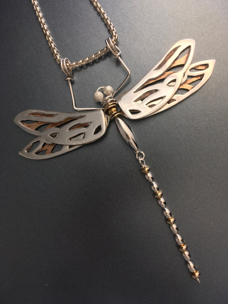 Dragonfly Pendant Mixed Metals Silver and Brass image 0