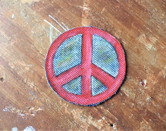 Peace Sign Patch , Hand painted Patch , Sew on Patch