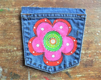 Groovy Flower Patch , Hand painted Patch , Pocket Patch , Sew on Patch