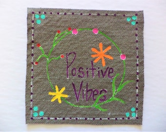 Positive Vibes Patch ,  Hand Painted Patches , Sew on Patches , Paintings on Denim , Small paintings on Fabric