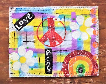 Street Art Graffiti Patch , Peace and Love Patch , Hand painted Patch , Sew on Patch
