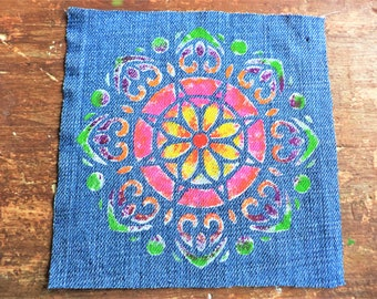Mandala Art Patch , Hand painted Patch , Sew on Patch