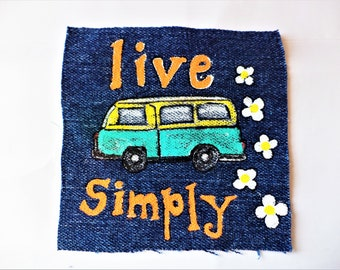 Live Simply Patch , Hand Painted Patch , Sew on Patches , Paintings on Denim , Small paintings on Fabric