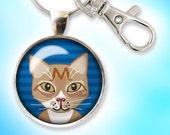 Orange Tabby Cat Keychain, Striped Orange Cat Key Chain, Glass Dome Keychain
