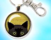 Peeking Cat Keychain, Bla...