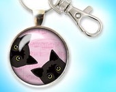 Two Black Cats Keychain P...