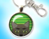 Peeking Cat Keychain, Charcoal Gray Cat Key Chain, Glass Dome Keychain