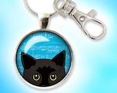 Black Cat Keychain, Peeking Black Cat, Black Kitty Blue Eyes, Key Ring, FOB, Silver, Copper, Bronze, Gunmetal, Cute Cartoon, Blue Clouds