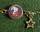 Buddhist Cat Bracelet, White cat meditating, Yoga cat, Charm bracelet, Orange tunic, Buddha, Spiritual Cat Jewelry, Elephant Charm, Colorful