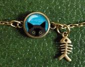 Peeking Cat Bracelet, Cute Black Cat Bracelet, Cat Charm Bracelet, Cat and Fish Glass Dome Charm Bracelet