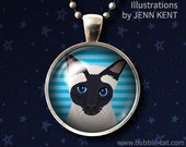 Siamese Seal Point Necklace, Cat Lover Jewelry, siamese black face cute drawing kitty cat kitten cats pendant stripes gifts kids accessories