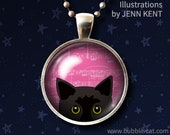 Cute Black Cat Necklace Pink Background Peeking Cat Pendant gifts for girls under 20 dollars music notes bombay kitten kitty moggie moggy