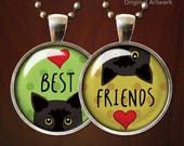 Friendship Necklace Cats Best Friends Necklace Set Two Necklaces Best Friend Jewelry Necklace Set Gift Friendship Jewellery Black cats teens