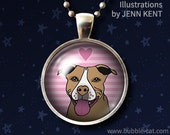 Tan Pitbull Jewelry Necklace Cute Pink Pitbull Graphic love Art Necklace Pibble Rescue mom gifts Pittie sweet dog gifts happy smiling heart