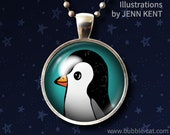 Cute Penguin Necklace Penguin Pendant with Chain Tuxedo penguin turquoise teal black white illustration drawing antarctica gifts illustrated