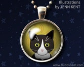 Tuxedo Cat Necklace  Black and White Cat Pendant glass dome fall leaves Cute kittens Cartoon Cat portrait cute jewelry gifts presents girls