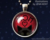 Mothers Day Black Cat Necklace, Black Peeking Cat Pendant, Red Mom Necklace cute whimsical kawaii bombay kitty shorthair short hair cats mom