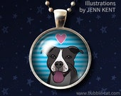 Black and White Pitbull Jewelry Necklace Cute Stripes Dark Pitbull Graphic Cartoon Art Illustration drawing Rescue dog gifts Pittie Pibble