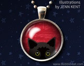 Peeking Black Cat Necklace Red background music notes kitty drawings illustration bombay kitten gifts for cat lovers cute jewelry for girls