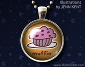 Blueberry Muffin Pendant Muffin Necklace Foodie jewelry cute kawaii style illustration wearable art glass cabochon pastries pastry love