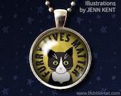 Furry Black Cat Lives Matter Rescue Cat Jewelry Tuxedo Cat Necklace adoption adopt Pendant glass dome Cute kittens Cartoon Cat jewelry art