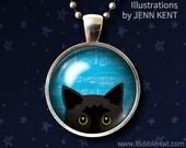 Best Seller Peeking Black Cat Necklace cute Black Cat Pendant Blue bombay kitty kitten kawaii cute design trendy gift ideas cat lovers gifts