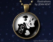 Yin Yang Cat Necklace Black and White Kitty Jewelry heart cat lover gifts kawaii cute popular design styles
