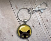 Cute Handmade Illustrated Peeking Cat Keychain Black Cat Keys Glass Dome photo gifts under 20 trendy fun popular cat lovers bombay kitten