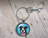 Illustrations by Jenn Kent Handmade Pitbull Keyring with secure FOB photo under glass dome cute pittie pit bull pittle rescue dogs dog lover